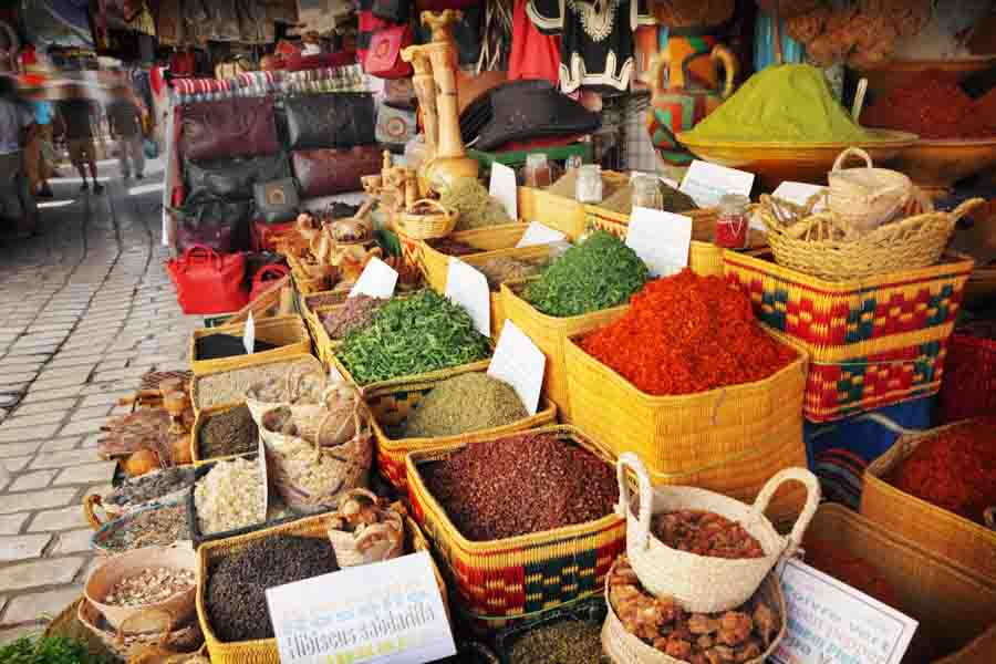 indian herbs and spices beans at a market]