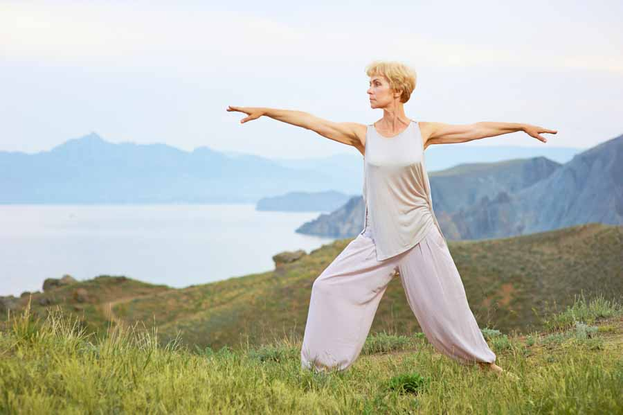 older woman yoga healthy